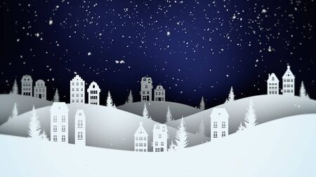Closeup night village and snowing landscape. Luxury and elegant dynamic style 3D illustration for winter holiday Banco de Imagens
