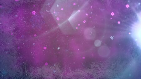 Abstract purple bokeh and particles falling. Happy New Year and Merry Christmas shiny background. Luxury and elegant dynamic style 3D illustration for winter holiday