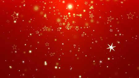 White snowflakes, stars and abstract bokeh particles falling. Happy New Year and Merry Christmas shiny background. Luxury and elegant dynamic style 3D illustration for winter holiday Banco de Imagens