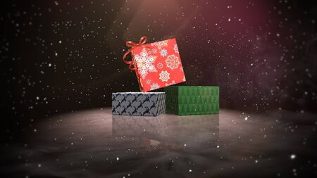 Closeup Christmas gift boxes on snow and shine background. Luxury and elegant dynamic style 3D illustration for winter holiday Banco de Imagens