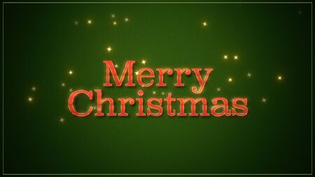 Merry Christmas text on green background. Luxury and elegant dynamic style 3D illustration for winter holiday