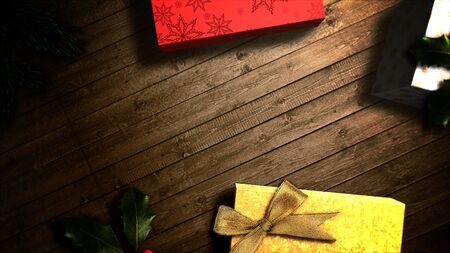 Closeup gift boxes and green tree branches on wood background. Luxury and elegant dynamic style 3D illustration for winter holiday Banco de Imagens