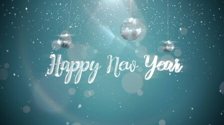 Happy New Year text, silver balls on shine background. Luxury and elegant dynamic style 3D illustration for winter holiday Banco de Imagens