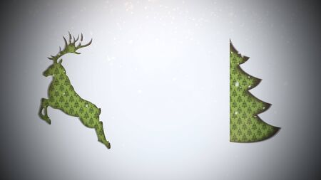 Closeup green Christmas tree and deer on snow background. Luxury and elegant dynamic style 3D illustration for winter holiday