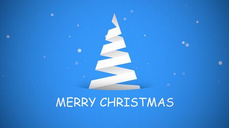 Merry Christmas text, white Christmas tree on blue background. Luxury and elegant dynamic style 3D illustration for winter holiday Banco de Imagens