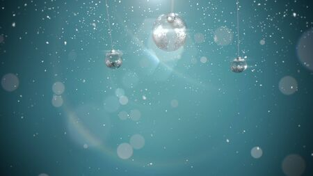Closeup silver balls and snowflakes on green background. Luxury and elegant dynamic style 3D illustration for winter holiday