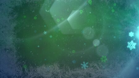 Abstract blue bokeh and particles falling. Happy New Year and Merry Christmas shiny background. Luxury and elegant dynamic style 3D illustration for winter holiday