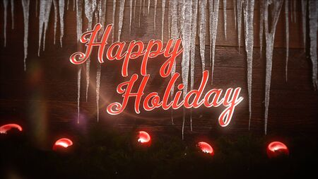 Happy Holidays text, red balls and icicles on wood background. Luxury and elegant dynamic style 3D illustration for winter holiday Banco de Imagens