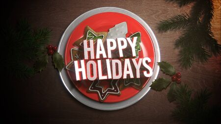 Happy Holidays text, Christmas candy on wood background. Luxury and elegant dynamic style 3D illustration for winter holiday