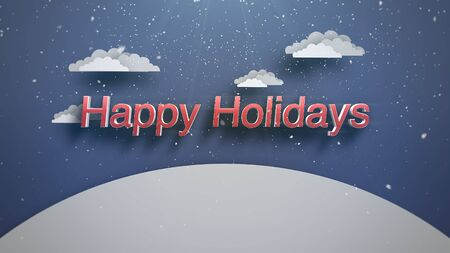 Closeup Happy Holidays text, mountains and snowing landscape. Luxury and elegant dynamic style 3D illustration for winter holiday