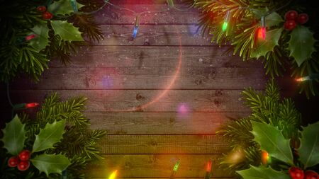Closeup colorful garland on wood background. Luxury and elegant dynamic style 3D illustration for winter holiday