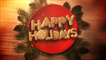 Happy Holidays text, candy and Christmas pie on wood background. Luxury and elegant dynamic style 3D illustration for winter holiday Banco de Imagens