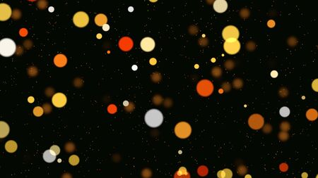 Abstract bokeh particles falling. Happy New Year, Merry Christmas, Happy Birthday day shiny background. Luxury and elegant dynamic style 3D illustration for winter holiday