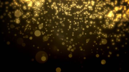 Abstract yellow bokeh and particles falling. Happy New Year and Merry Christmas shiny background. Luxury and elegant dynamic style 3D illustration for winter holiday Banco de Imagens