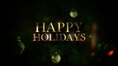 Happy Holidays text, colorful balls and green tree branches on shiny background. Luxury and elegant dynamic style 3D illustration for winter holiday Banco de Imagens