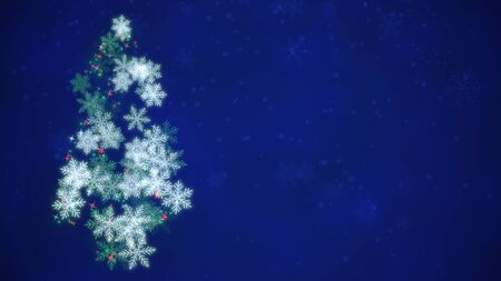 Closeup Christmas tree on dark background. Luxury and elegant dynamic style 3D illustration for winter holiday