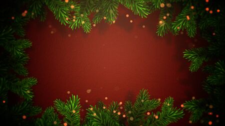Closeup abstract bokeh and Christmas green tree branches on red background. Luxury and elegant dynamic style 3D illustration for winter holiday