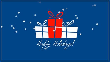 Happy Holidays text, three gift boxes on blue background. Luxury and elegant dynamic style 3D illustration for winter holiday