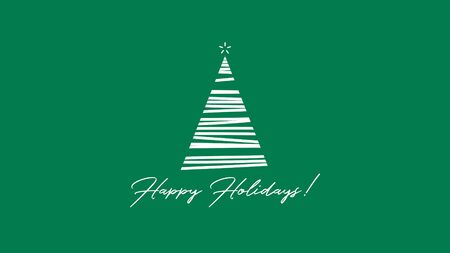 Happy Holidays text, white Christmas tree on green background. Luxury and elegant dynamic style 3D illustration for winter holiday Banco de Imagens