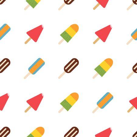 Ice cream pattern, colorful summer background. Elegant and luxury style illustration