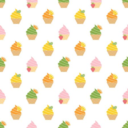 Ice cream pattern, colorful summer background. Elegant and luxury style illustration