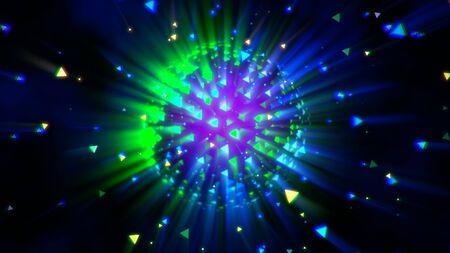 Movimiento bola de discoteca colorida, fondo abstracto. Estilo de club de neón dinámico elegante y lujoso, ilustración 3D