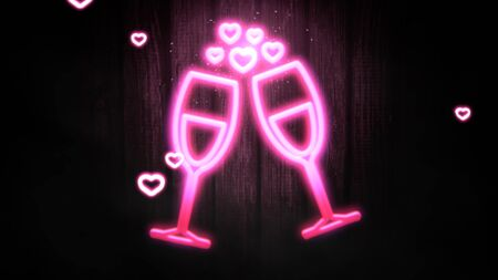 Closeup romantic heart and wine glasses on Valentines day shiny background. Luxury and elegant style 3D illustration for holiday Imagens
