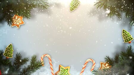 Closeup Christmas green tree branches and toys on snow background. Luxury and elegant dynamic style 3D illustration for winter holiday