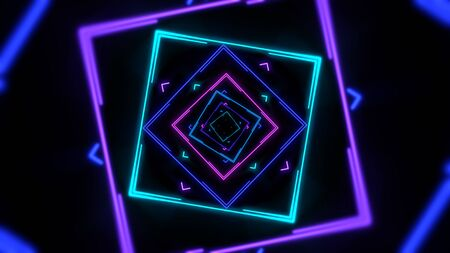 Colorful neon geometric shape in space, abstract background. Elegant and luxury dynamic club style 3D illustration Reklamní fotografie