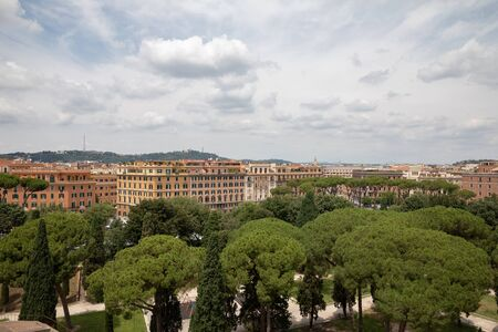 Rome, Italy - Panoramic view on the Papal Basilica of St. Peter (St. Peter's Basilica) in the Vatican and river Tiber with bridge in Rome. Summer day