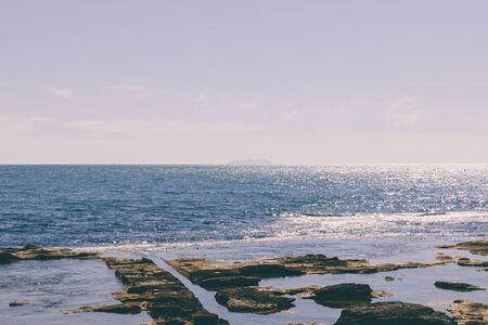 Panoramic view of Ligurian sea from Terrazza Mascagni (Mascagni terrace) on the western coast of Tuscany in Livorno city