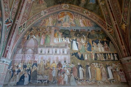 Florence, Italy - June 24, 2018: Panoramic view of interior of Basilica of Santa Maria Novella. it is the first great basilica in Florence, and is the citys principal Dominican church Редакционное