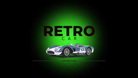 Retro car and text on sport background. Elegant and luxury 3D illustration style for sport and advertising template Stockfoto