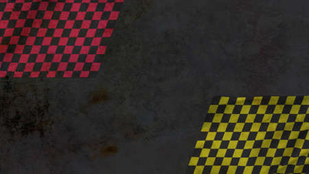 Challenge flag with red and yellow squares on retro sport background. Elegant and luxury 3D illustration style for sport and advertising template