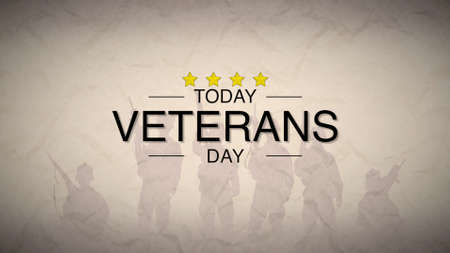 Text Veterans Day on military background with soldiers. Elegant and luxury 3d illustration for military and warfare template Stockfoto