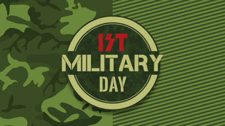 Text Military Day on green military background with aim. Elegant and luxury 3d illustration for military and warfare template