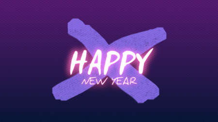 Text Happy New Year on fashion and club background with glowing cross. Elegant and luxury 3d illustration style for club and entertainment template