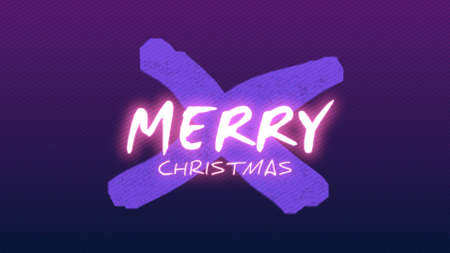 Intro text Merry Christmas on fashion and club background with glowing cross. Elegant and luxury 3d illustration for club and entertainment template