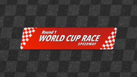 Formula flag and text Cup Race, retro sport background. Elegant and luxury 3D illustration style for sport and advertising template