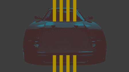 Retro car and lines on sport background. Elegant and luxury 3D illustration style for sport and advertising template Stockfoto