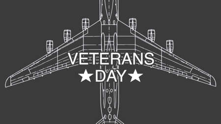 Text Veterans Day on military background with airplane. Elegant and luxury 3d illustration for military and warfare template Stockfoto
