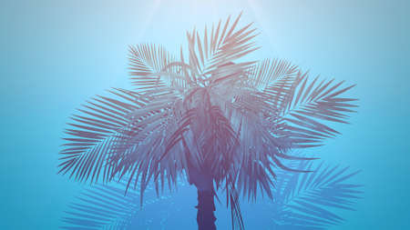 Closeup tropical palm trees, summer background. Elegant and luxury 80s, 90s retro style 3D illustration Stock fotó