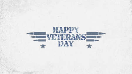 Text Happy Veterans Day on military background with cartridges. Elegant and luxury 3d illustration for military and warfare template