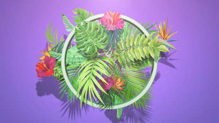 Closeup tropical flowers and leaf, summer background. Elegant and luxury 80s, 90s retro style 3D illustration