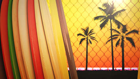 Closeup surfing boards and tropical leaves, summer background. Elegant and luxury 80s, 90s retro style 3D illustration Stock fotó
