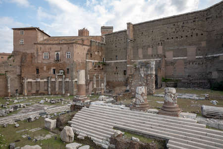 Panoramic view of Temple of Mars Ultor was an ancient sanctuary in Ancient Rome and Forum of Augustus is one of the Imperial forums of Rome. Summer day and blue sky