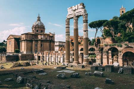 Panoramic view of temple of Venus Genetrix is a ruined temple, forum of Caesar also known as forum Iulium, Curia Julia (Senate House) and church Santi Luca e Martina