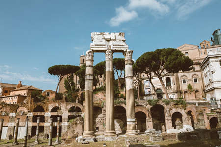 Rome, Italy - June 23, 2018: Panoramic view of temple of Venus Genetrix is a ruined temple and forum of Caesar also known as forum Iulium
