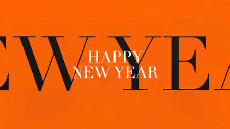 Text Happy New Year on orange fashion and minimalism background. Elegant and luxury 3d illustration for business and corporate template 免版税图像