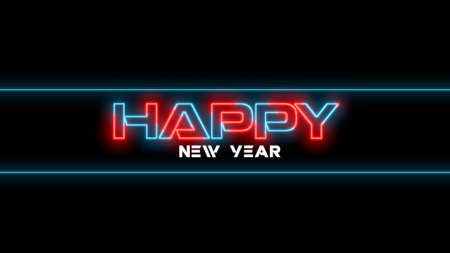 Text Happy New Year on fashion and club background with glowing text  . Elegant and luxury 3d illustration style for club and entertainment template